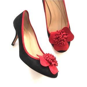 KATE SPADE Suede Black and Red Flower Heels